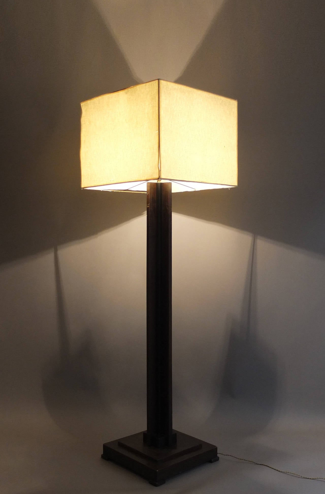 fine french art deco wooden base square floor lamp for sale at stdibs - fine french art deco wooden base square floor lamp