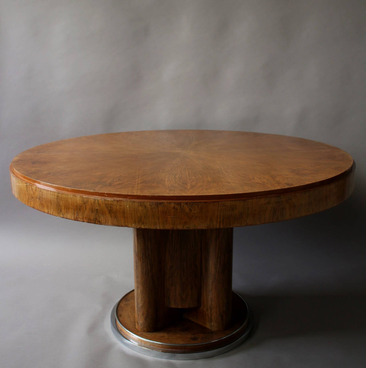 Fine french art deco walnut round dining table for sale at for Nice dining table