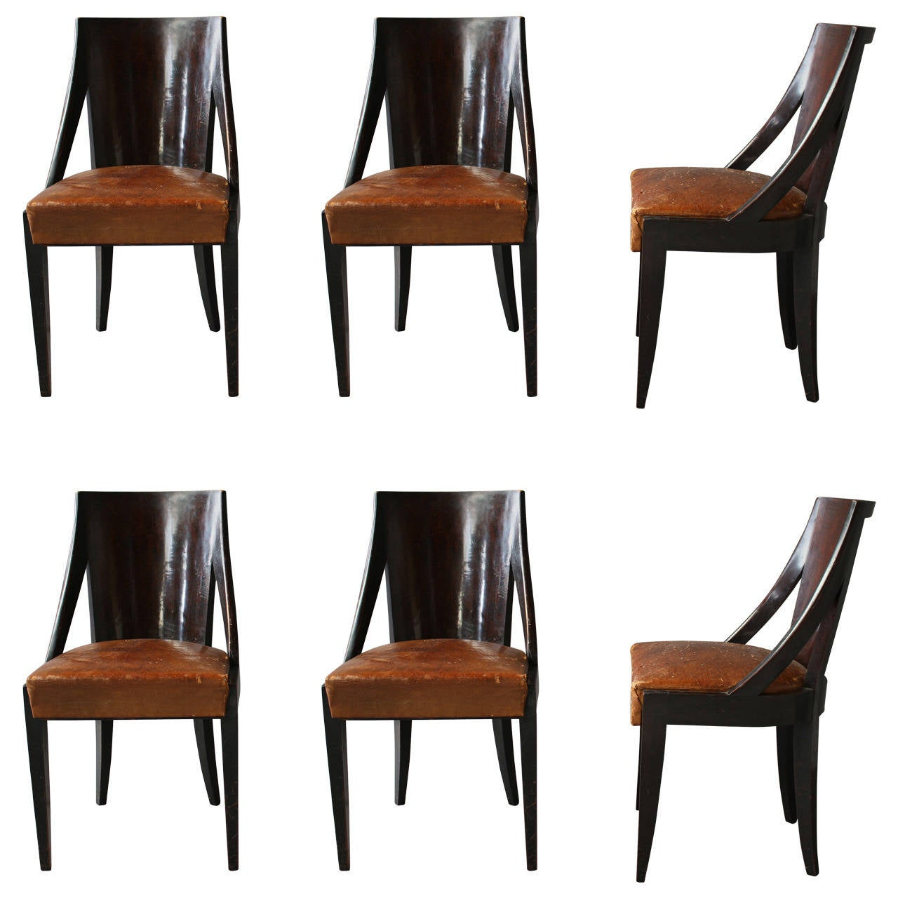 Set of six french art deco dining chairs by christian for Art dining room furniture