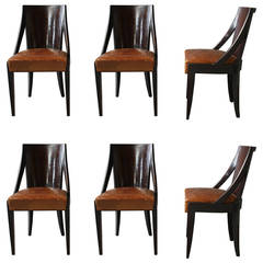Set of Six French Art Deco Dining Chairs by Christian Krass
