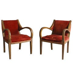 A pair of Unusual French Art Deco Bridge Armchairs