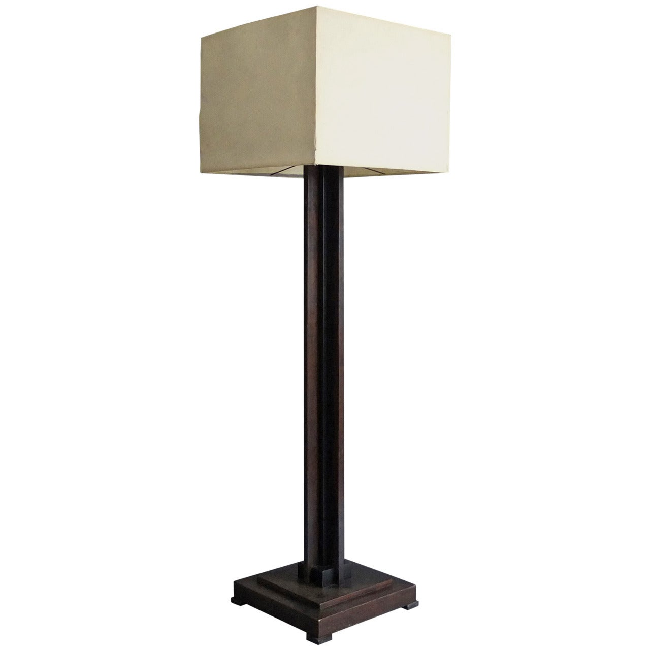 A Fine French Art Deco Wooden Square Base Floor Lamp