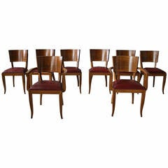 Set of Six Side and Two-Arm, French Art Deco Chairs
