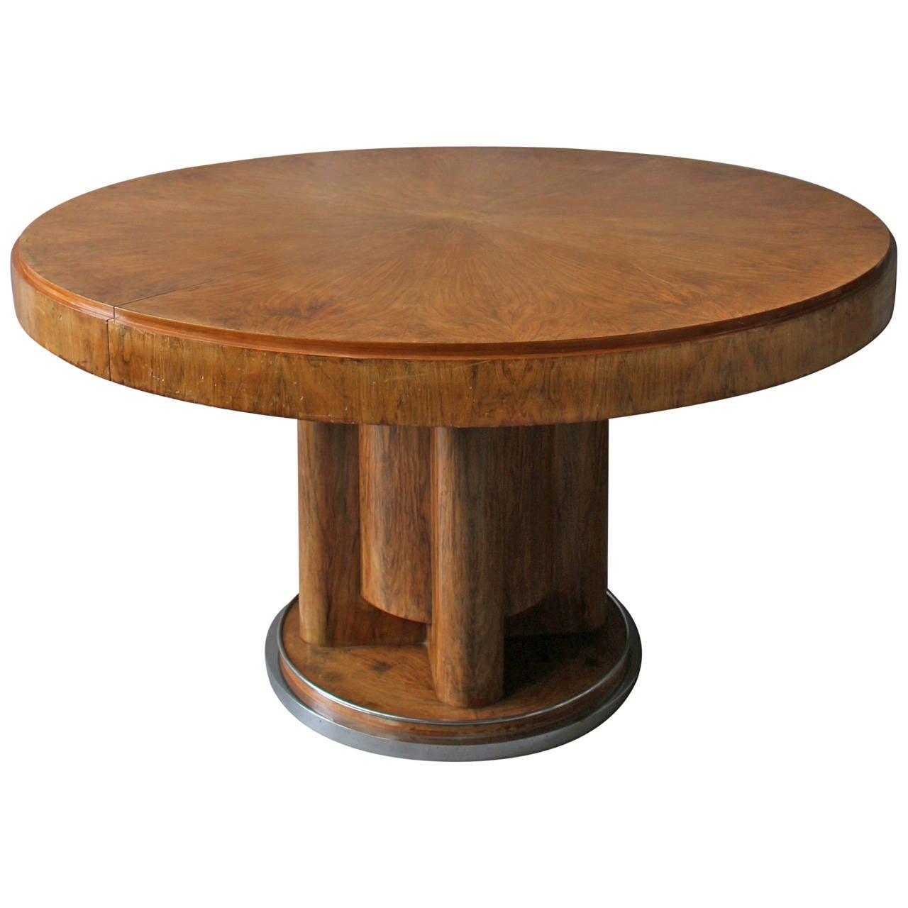 Fine french art deco walnut round dining table for sale at for Circular dining table
