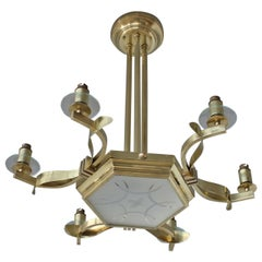 Fine French 1960's Brass and Glass Chandelier
