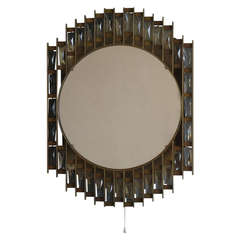Fine French 1970s Metal and Glass Illuminated Mirror