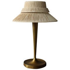 Fine French Art Deco Bronze and Raphia Table Lamp by Perzel