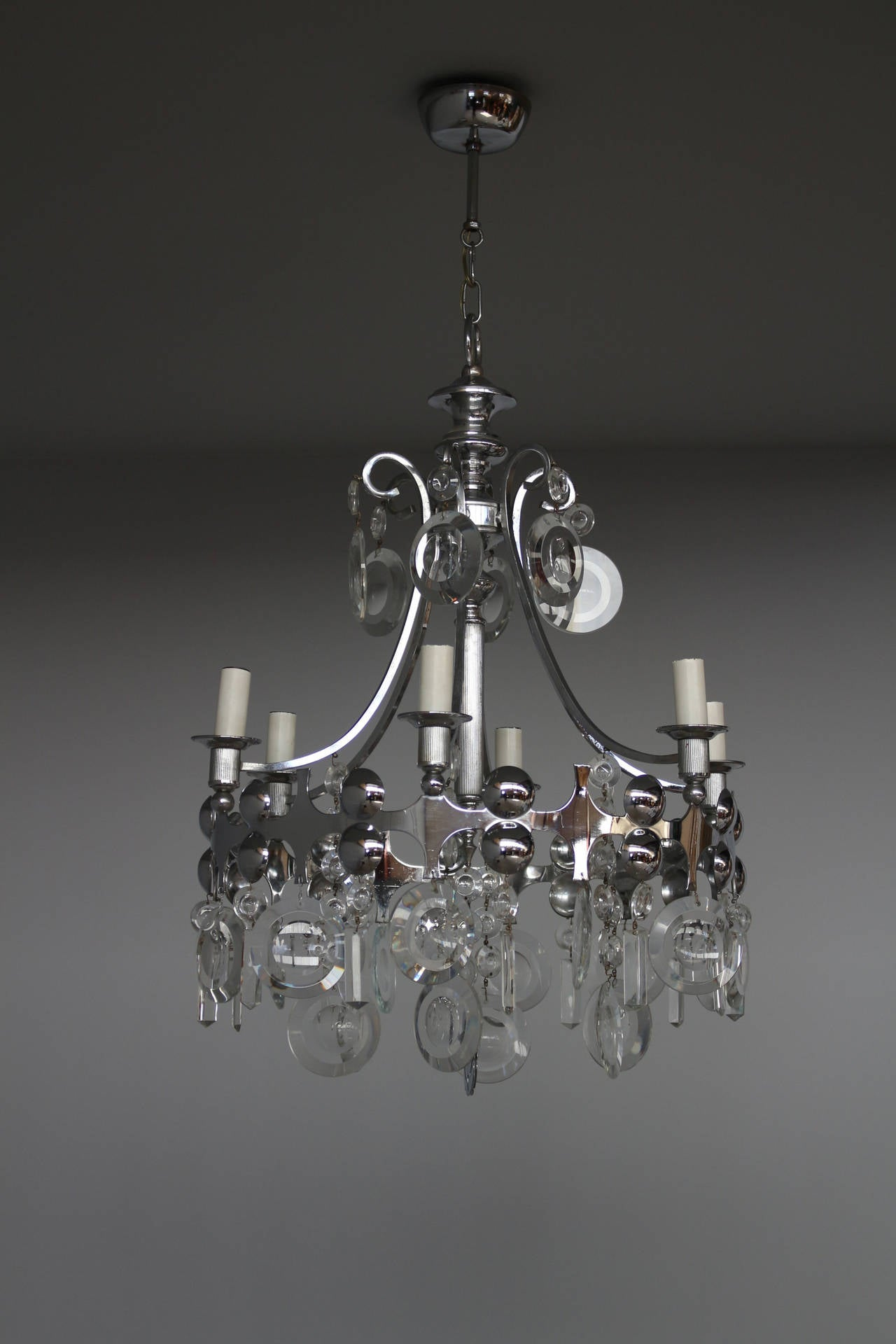Fine French 1970s Metal And Glass Chandelier For Sale At