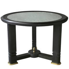 A French Art Deco Blackened Wood and Etched Glass Gueridon