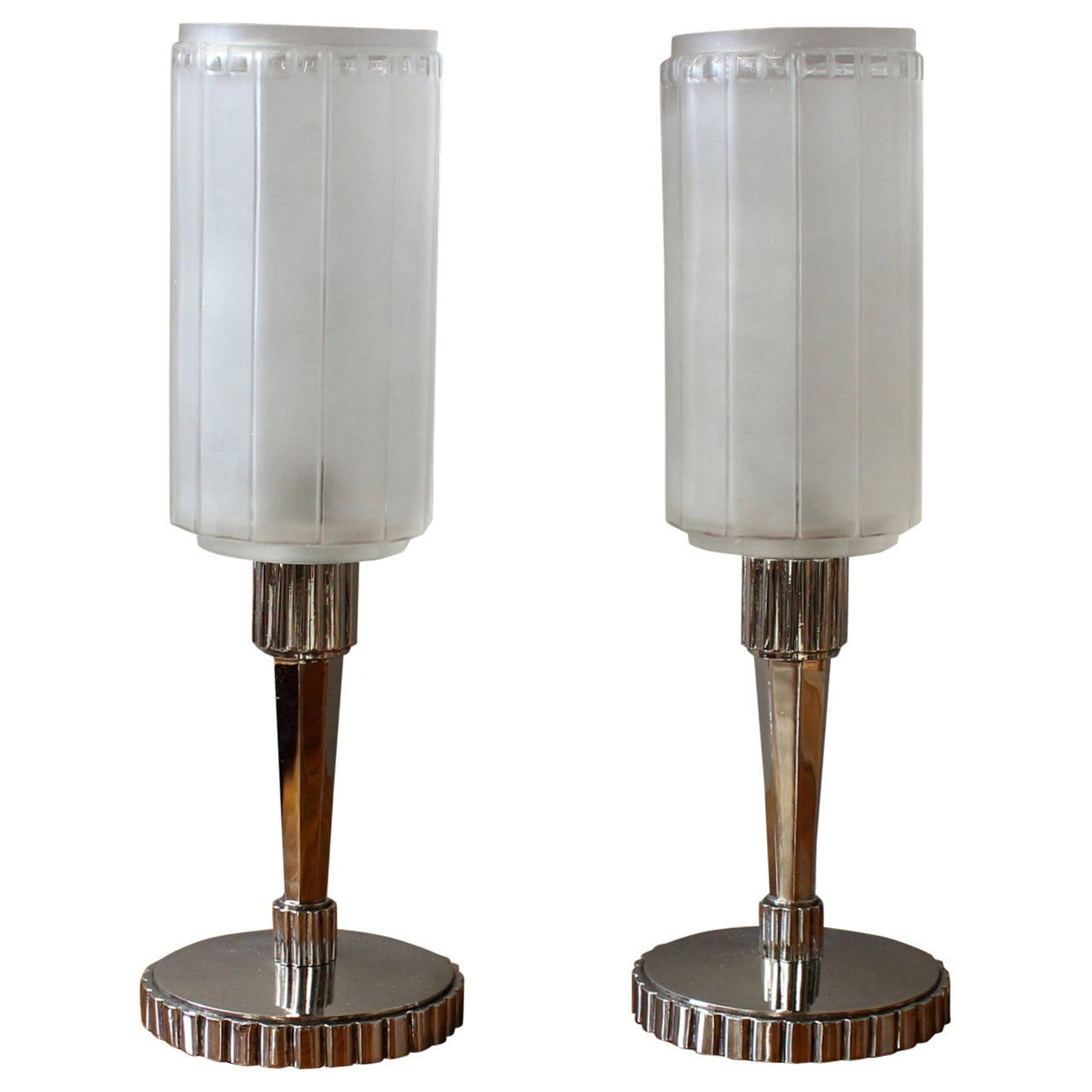 Fine Pair of French Art Deco Table Lamps by Genet et Michon