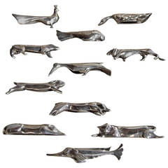 A Set of 12 Fine French Art Deco Knife Rests by Gallia for Christofle