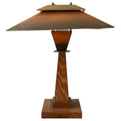 A Fine French Art Deco Oak and Copper Table Lamp by Emile Jacot
