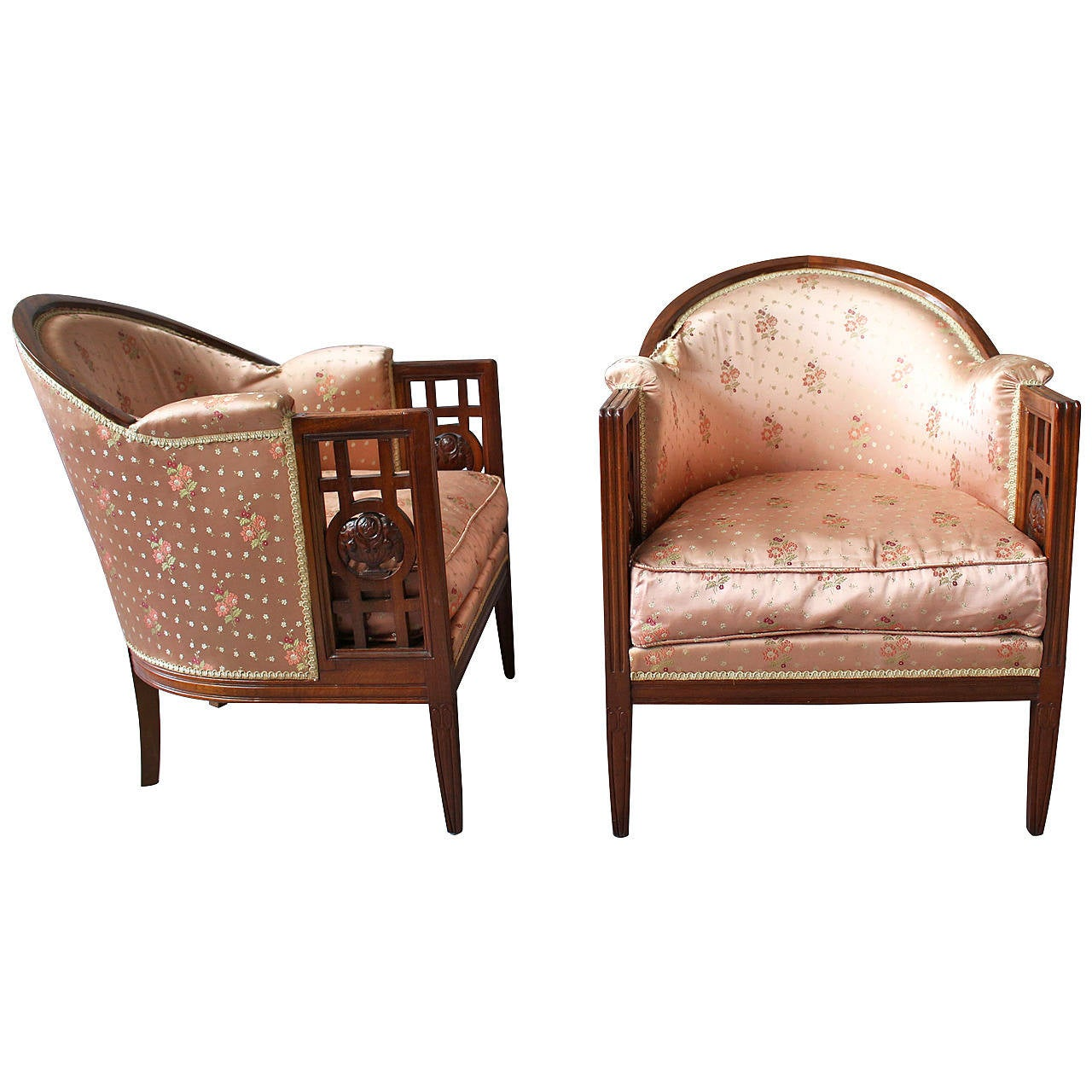 Pair of Fine French Art Deco Mahogany Armchairs by Paul Follot