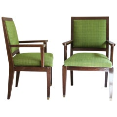A Pair of French Art Deco Desk or Bridge Armchairs