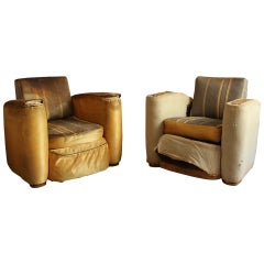 A Pair of Fine French Art Deco Club Arm chairs by Suzanne Guiguichon
