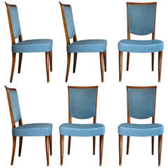 Set of Six Fine French, 1950s, Dining Chairs by Leleu