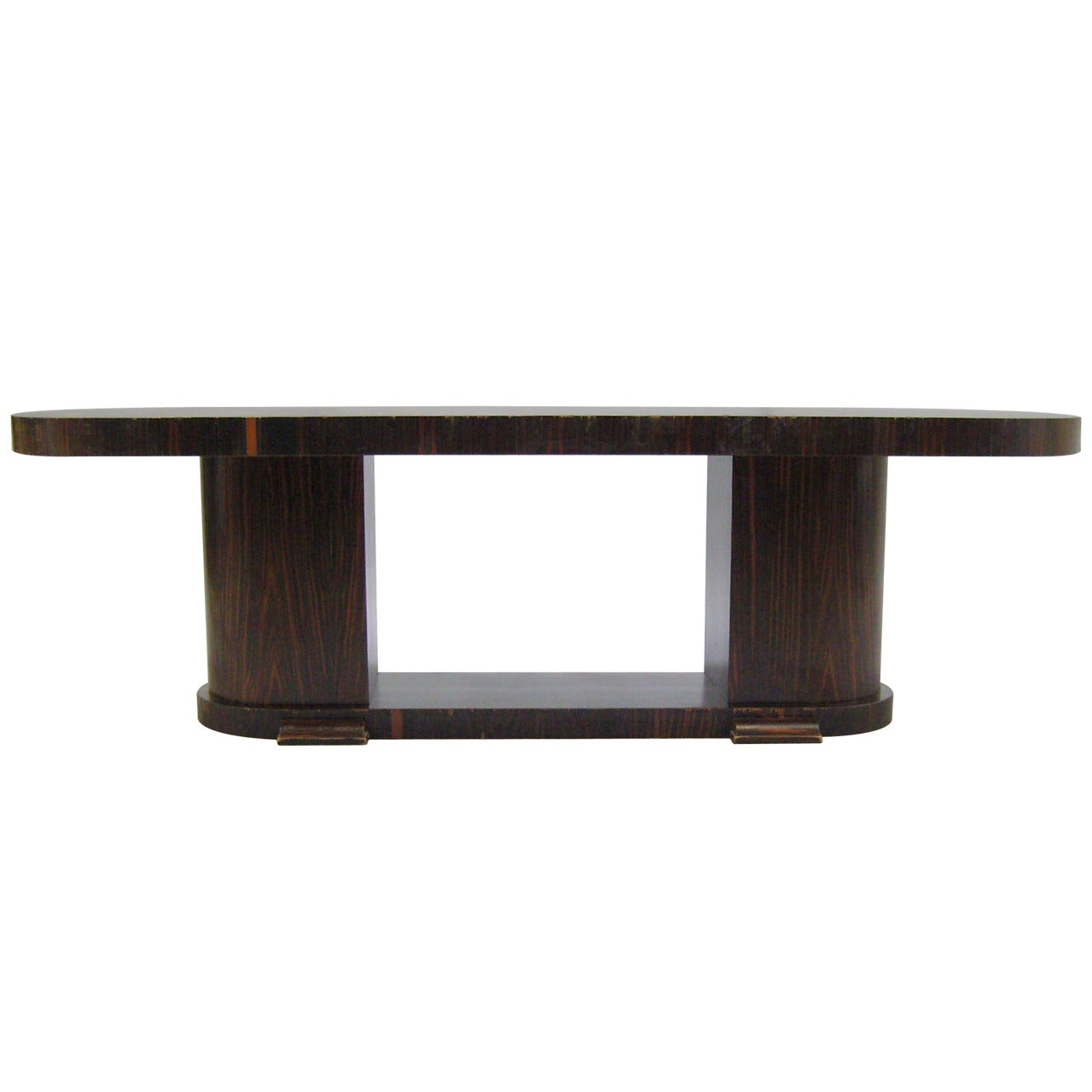 Large FineFrench Art Deco Macassar Ebony Oval Dining Table