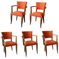 Five French Art Deco Bridge Armchairs