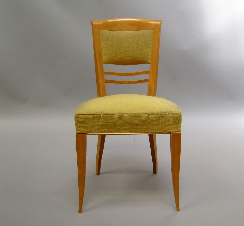 A set of six fine French Art Deco sycamore dining/side chairs by Batistin Spade.