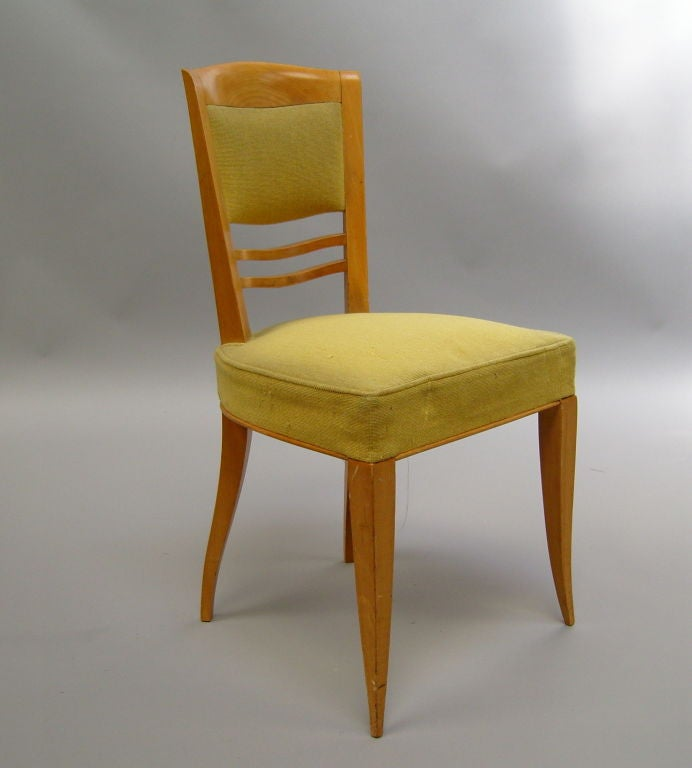 A Set of Six Fine French Art Deco Dining Chairs by Batistin Spade In Good Condition For Sale In Long Island City, NY