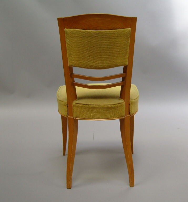 Fabric A Set of Six Fine French Art Deco Dining Chairs by Batistin Spade For Sale