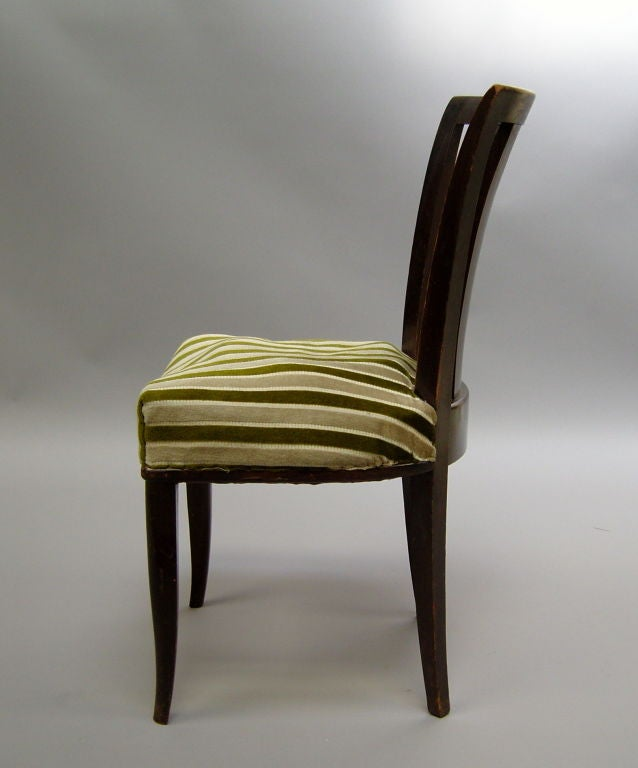 Mid-20th Century Set of Six French Art Deco Chairs by Gaston Poisson For Sale