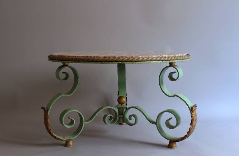 High Quality Fine French Art Deco Wrought Iron And Marble Top Coffee Table By Raymond  Subes 2