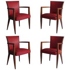 Set of Four French Art Deco Bridge Chairs