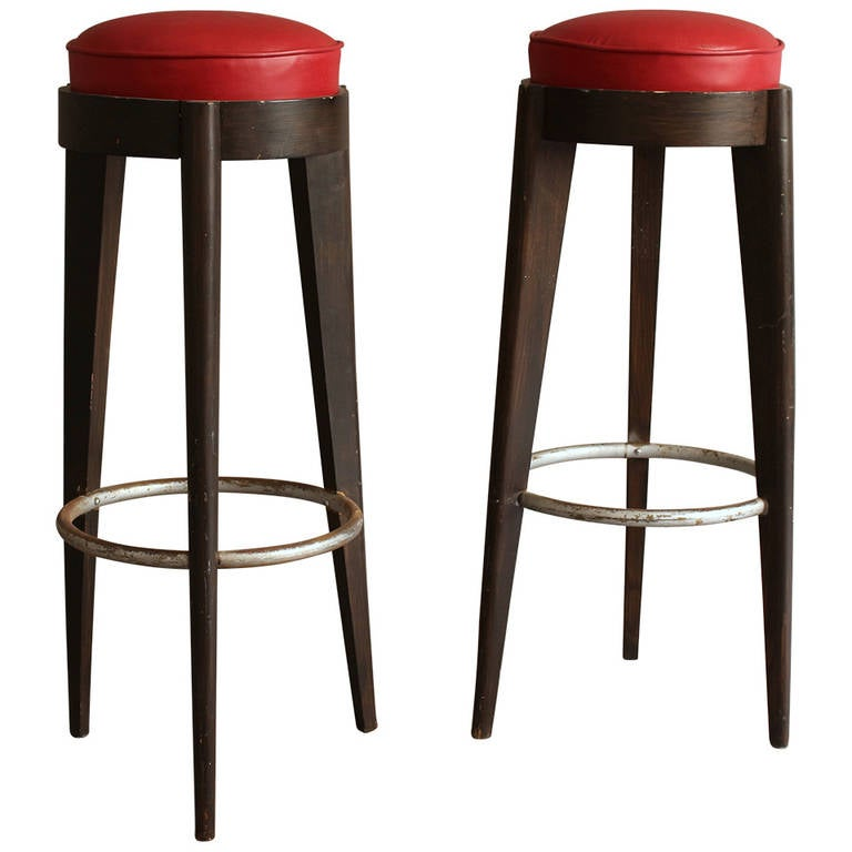 Pair Of French Art Deco Bar Stools At 1stdibs