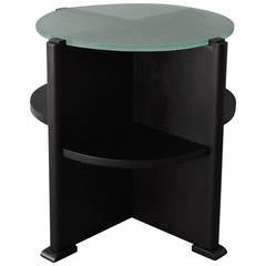 French Art Deco Ebonized Oak and Glass-Top Gueridon
