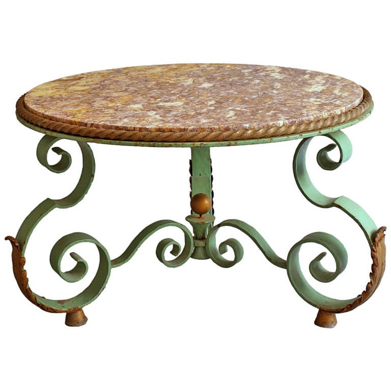 French art deco wrought iron and marble top coffee table for Marble and wrought iron coffee table