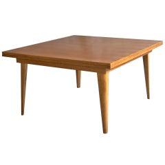 A Large French 1950's Cherry Wood Dining Table with Two Pull-Out End Leaves