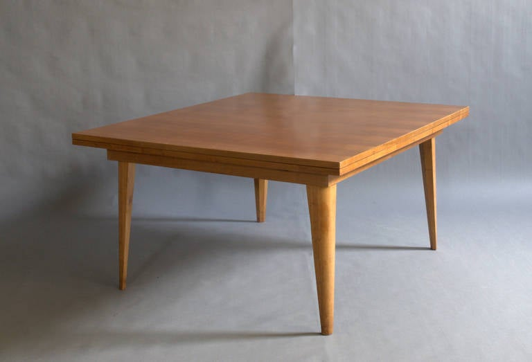large french 1950s cherrywood dining table with two pull-out end