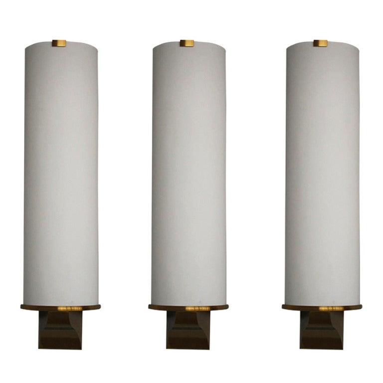 Three French Art Deco Semi Cylinder Shape Sconces by Perzel