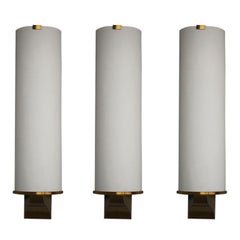 3 Fine French Art Deco Semi Cylinder Shape Sconces by Jean Perzel