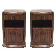 Pair of Fine French Art Deco Mahogany Side Tables