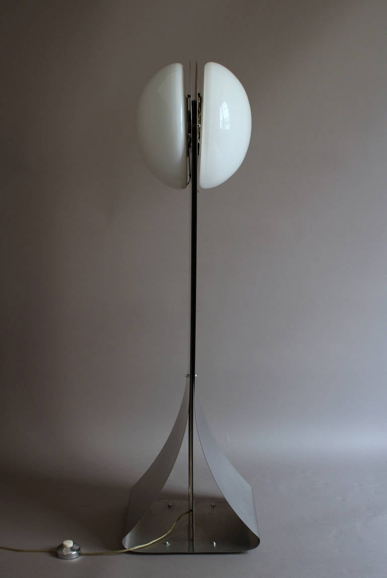 French 1970s Stainless Steel And White Glass Floor Lamp