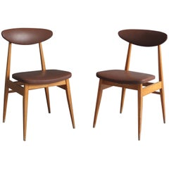 12 French 1950s Dining / Side Beech Chairs