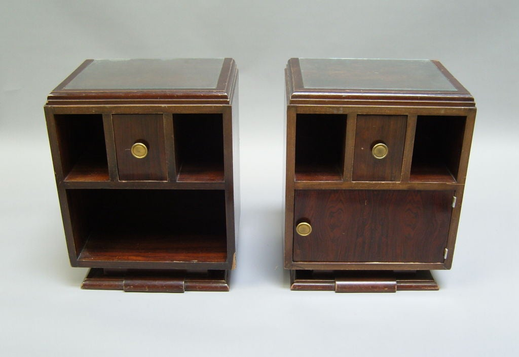 Pair of French Art Deco rosewood side tables or night stands.