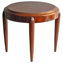 A Small French Art Deco round Mahogany side table
