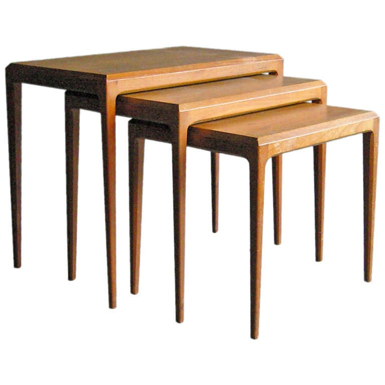 Stackable Nesting Tables ~ Set of danish nesting tables by johannes andersen at stdibs