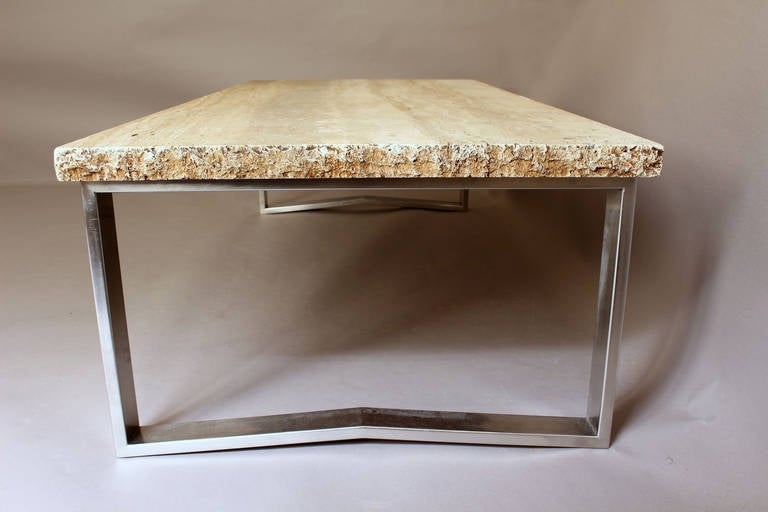 Fine French Large 1970s Metal And Travertine Coffee Table