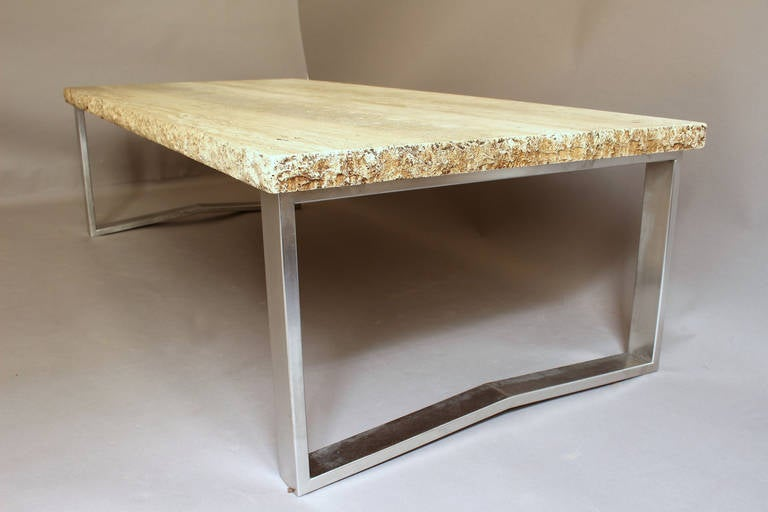 Fine french large 1970s metal and travertine coffee table for Table basse grande dimension