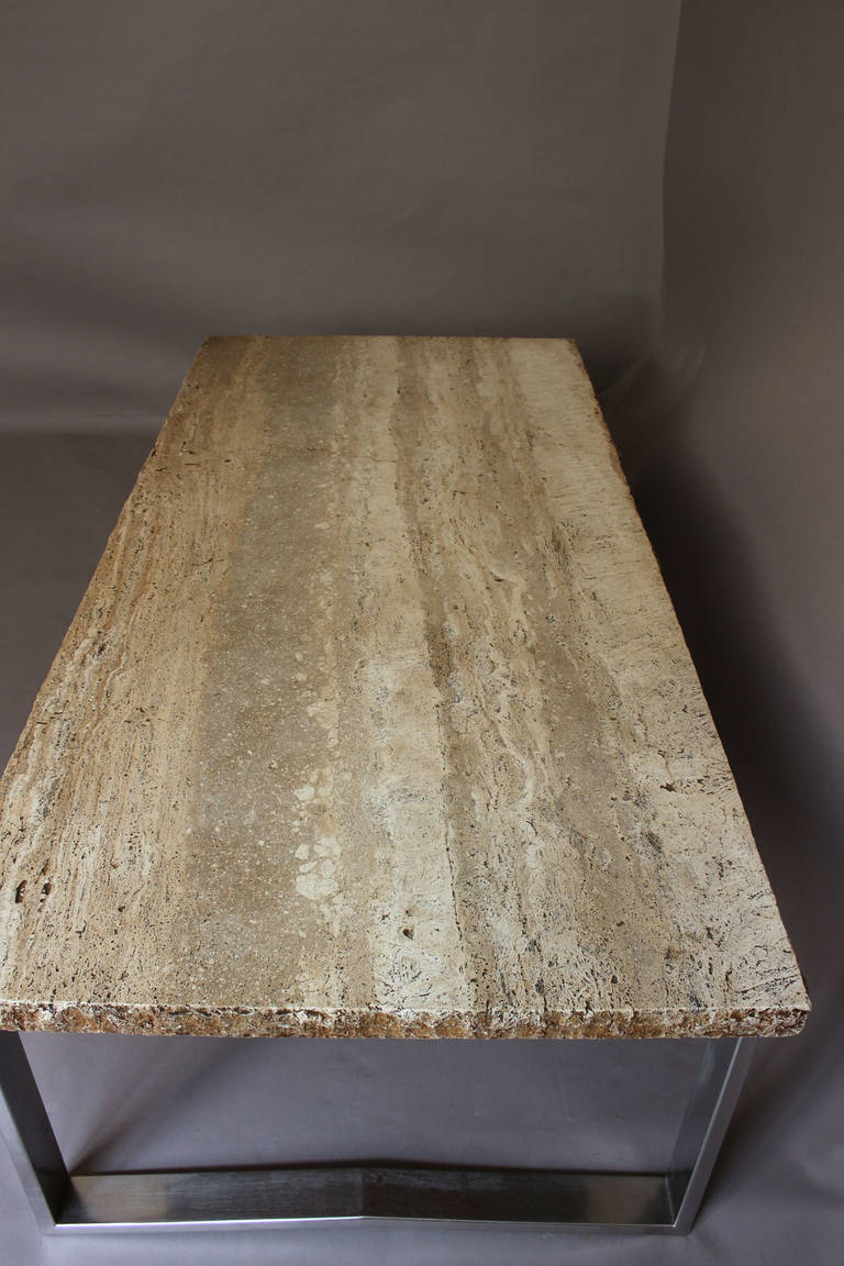 large fine french 1970s metal and travertine coffee table. Black Bedroom Furniture Sets. Home Design Ideas
