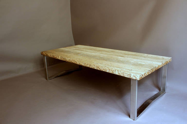 Large 1970s Metal and Travertine Coffee Table For Sale at 1stdibs
