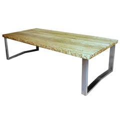 Large Fine French 1970s Metal and Travertine Coffee Table