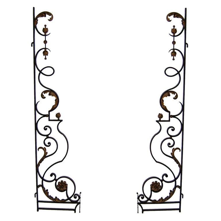 Pair of Fine French Art Deco Wrought Iron Gates For Sale