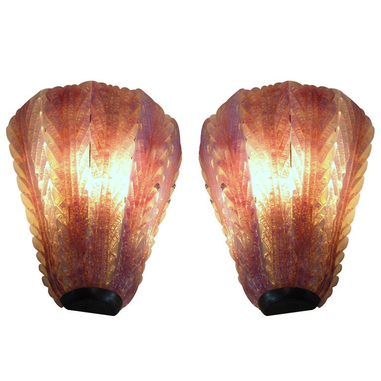 Pair of Hand Blown Glass and Brass Murano Sconces For Sale at 1stdibs