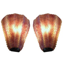 A Pair of Italian Hand Blown Glass and Brass Murano Sconces