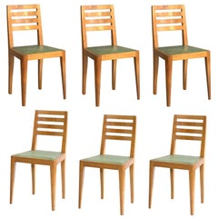 Set of Eight French Art Deco Cherry Dining Chairs